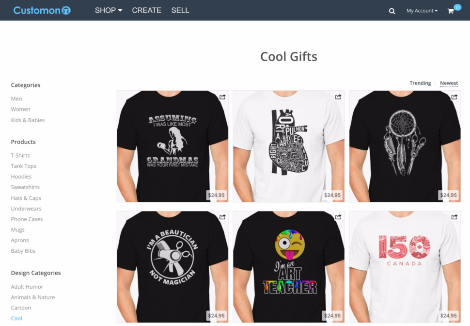design and sell t shirts online with customon and make money
