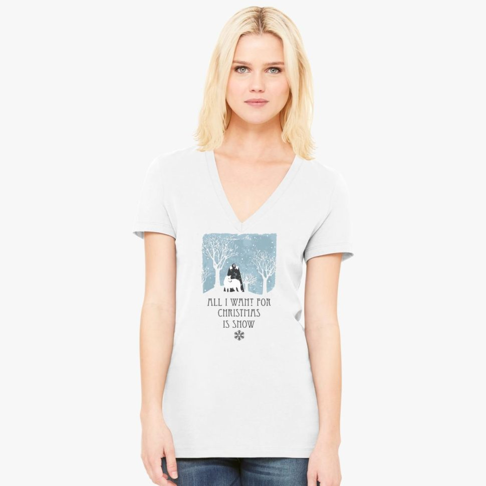 12 Days of Christmas Gift Ideas Christmas Snow Women V-Neck T-shirt White