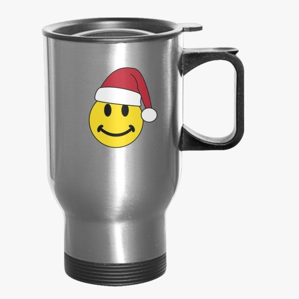 12 Days of Christmas Gift Ideas Smiley for Christmas Travel Mug Silver