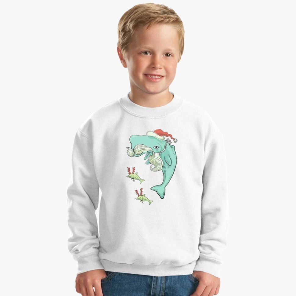 12 Days of Christmas Gift Ideas for Kids: Christmas Whale Kids Sweatshirt
