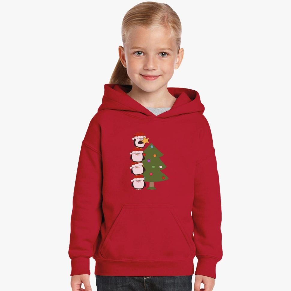 12 Days of Christmas Gift Ideas for Kids Penguins with Christmas Tree Kids Hoodie