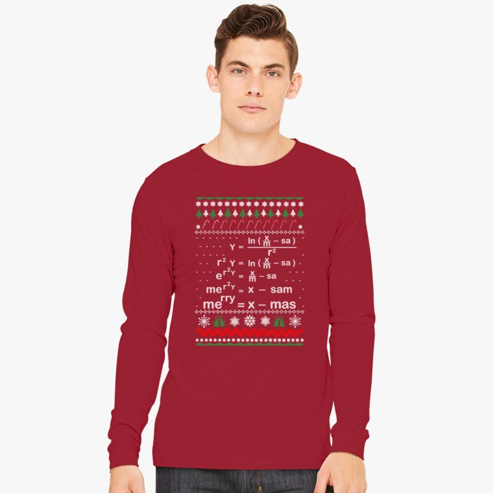 Christmas Gift Ideas for Teachers Math Christmas Long Sleeve T-shirt
