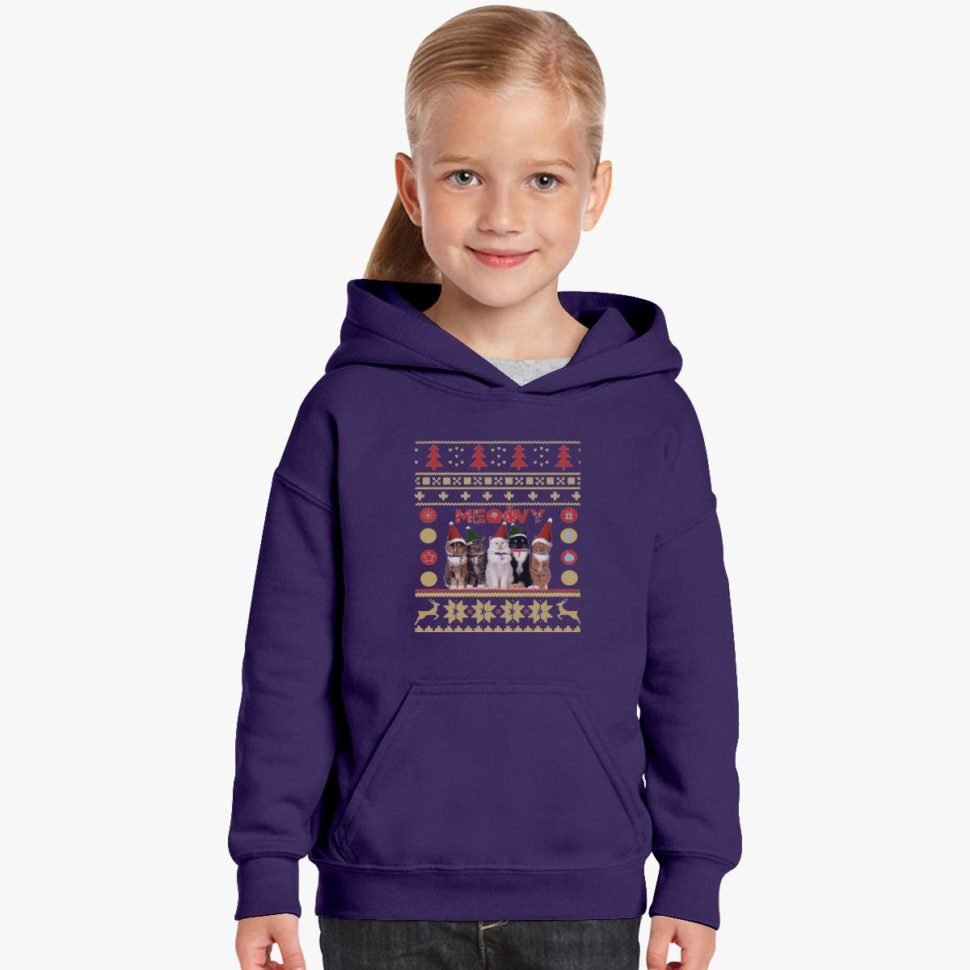 Gift Ideas for Kids Meowy Christmas Kids Hoodie