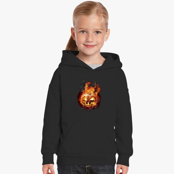 Halloween Contest 2017 Prize Winner on Customon: Burning Pumpkin Kids Hoodie Black