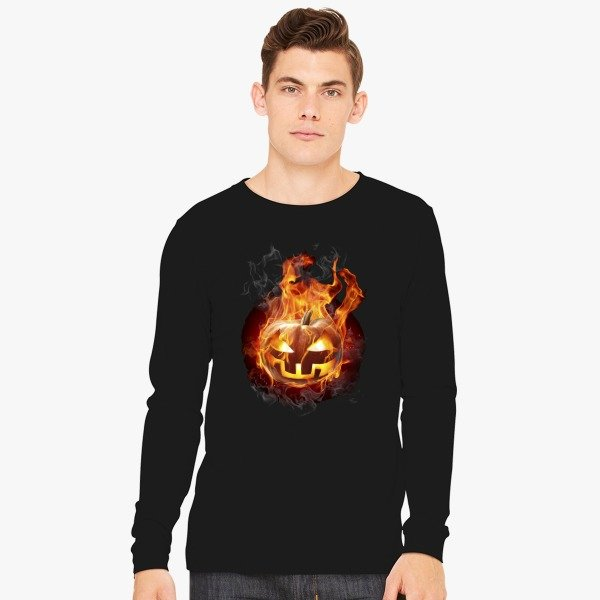 Halloween Contest 2017 Prize Winner on Customon: Burning Pumpkin Long Sleeve T-Shirt
