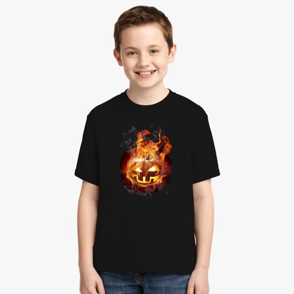 Halloween Design Contest 2017 Customon Prize Winner: Burning Pumpkin Youth T-shirt