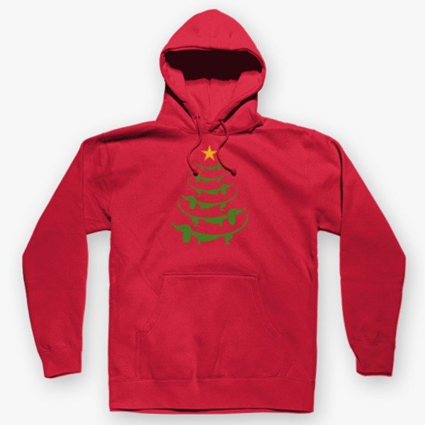 Christmas Gift Ideas for Her Dachshund Christmas Trees Hoodie