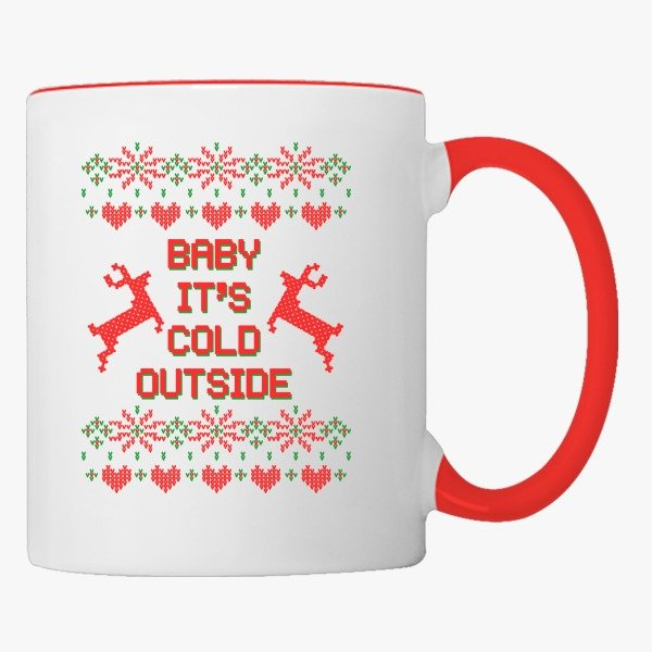 Funny Ugly Christmas Sweaters Design Gift Ideas for Women: Baby it's Cold Outside Ugly Sweater Coffee Mug