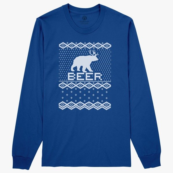 Funny Ugly Christmas Sweaters Gift Ideas for Men: Bear Deer Beer Ugly Christmas Long Sleeve T-shirt
