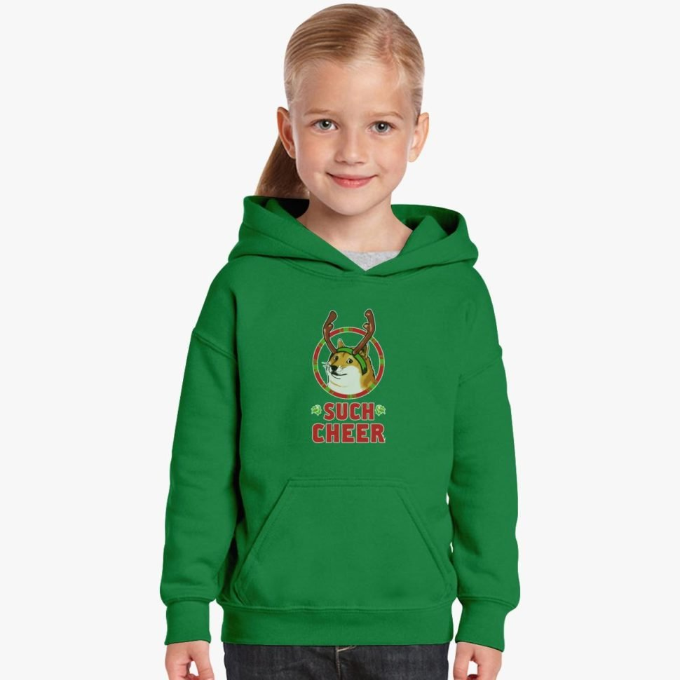 Funny Ugly Christmas Sweaters Gift Ideas for Toddlers: Christmas Doge Kids Hoodie