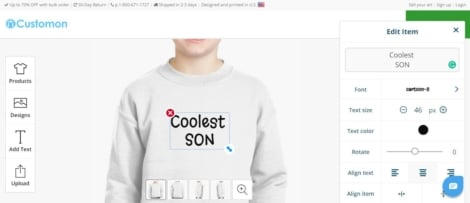 Customized printed sweatshirt for kids